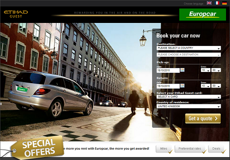 Etihad Guest Europcar promotion