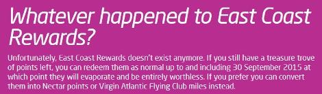 Virgin East Coast Rewards message