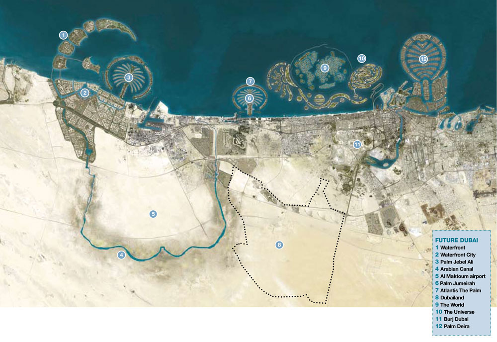 the world dubai map. Not content with the three