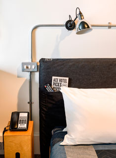 Ace Hotel London Shoreditch bed / lamp