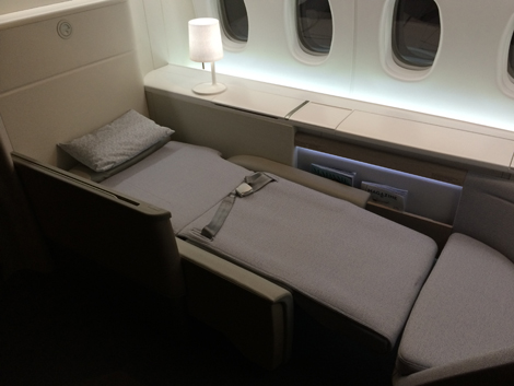 Flat bed in Air France La Premiere suite