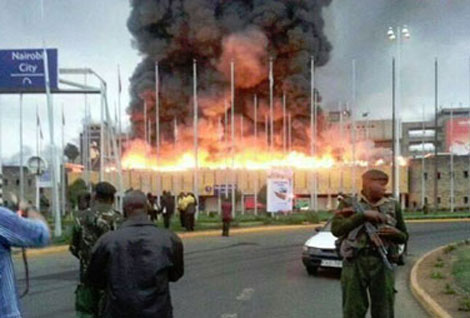 Nairobi airport on fire