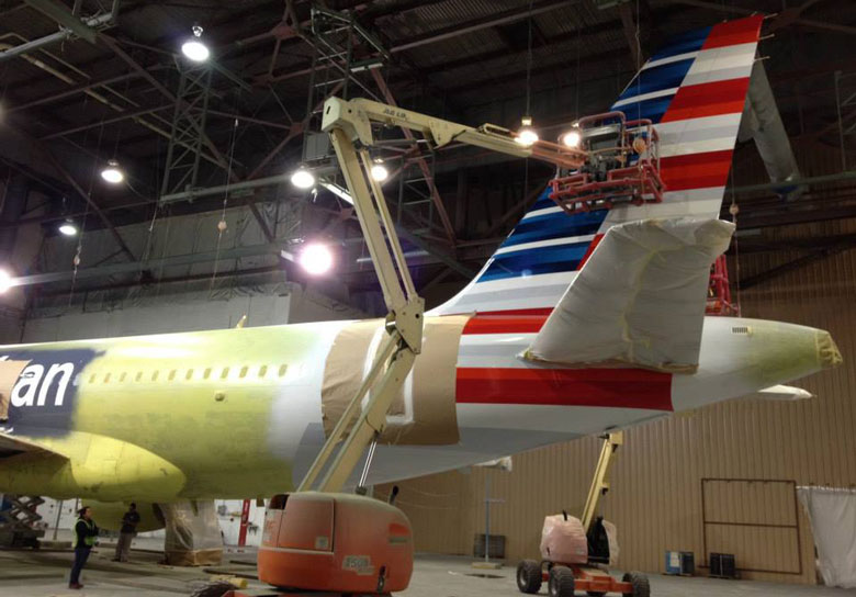 First US Airways aircraft in AA livery