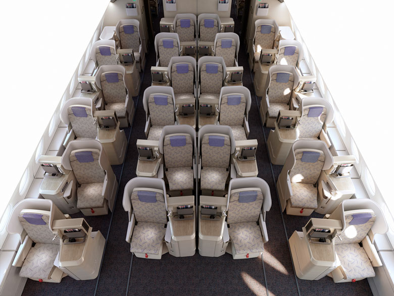 Asiana A380 business class staggered layout
