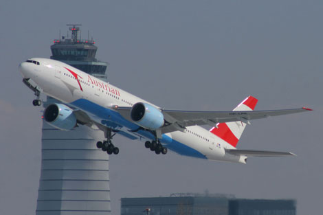 Austrian Airlines jet taking-off