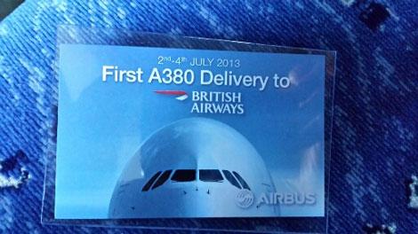 BA A380 flight card
