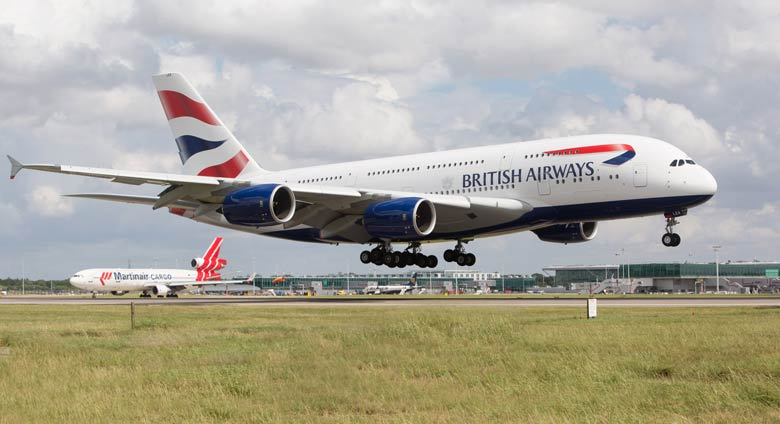 BA A380 lands at Stansted for the first time