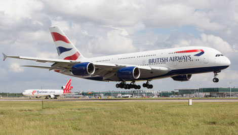BA A380 lands