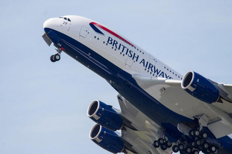 BA A380 takes off from Toulouse