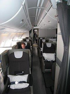 BA A380 upper deck front cabin aisle