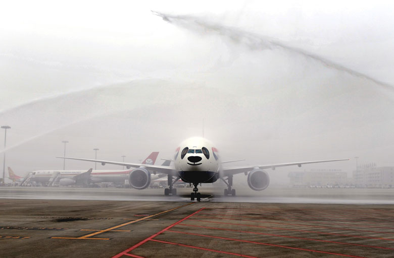 BA inaugural Chengdu flight is greeted by a water cannon