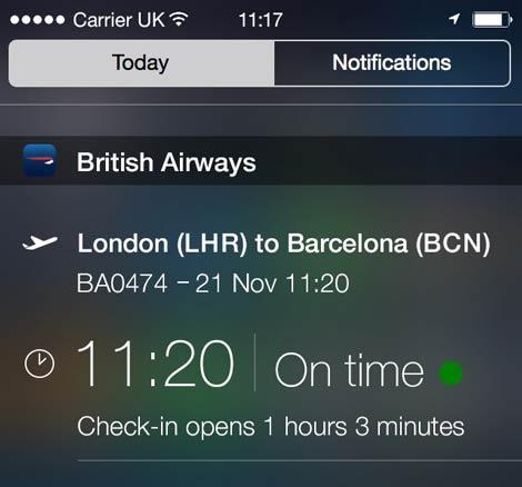BA iPhone widget