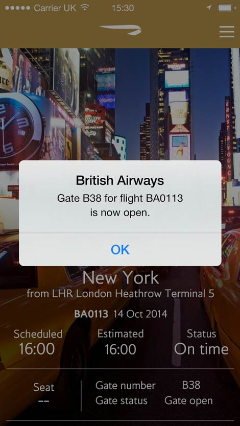 BA iPhone push notification