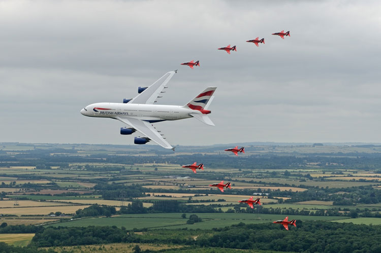 BA A380 and Red Arrows
