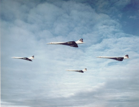 Four Concordes in formation