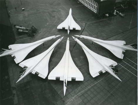 Six parked Concordes
