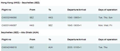 Cathay Pacific Air Seychelles codeshare