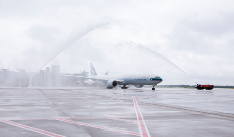 A traditional water cannon salute welcomes Cathay\\'s inaugural flight to Dusseldorf