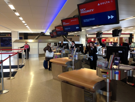Delta Sky Priority check-in desk at Seattle airport