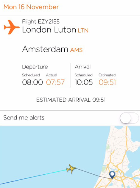 Easyjet app aircraft tracking feature