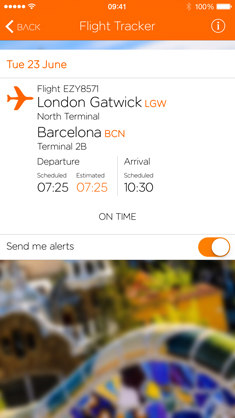 Easyjet iPhone app screengrab