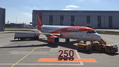 Easyjet\\\\'s 250th Airbus jet at Hamburg HQ