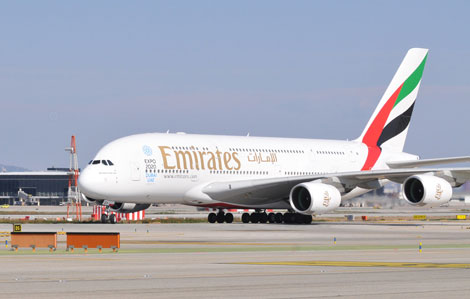 Emirates A380 in Barcelona