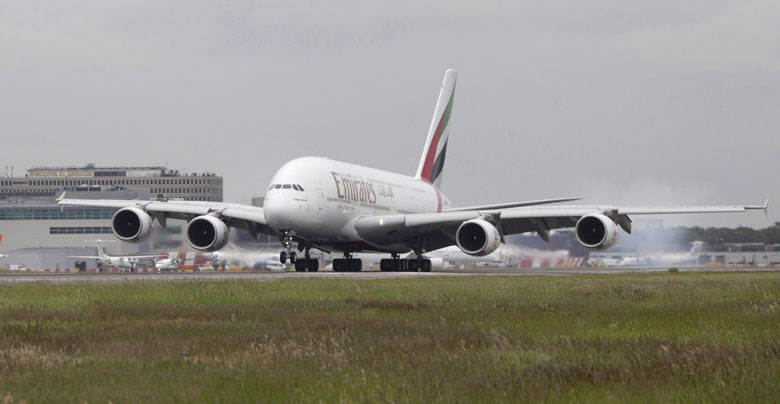 Emirates A380 lands at Gatwick