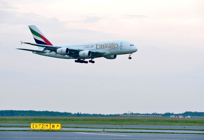 Emirates A380 lands in Vienna