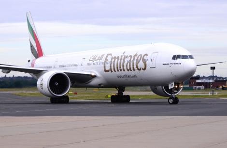 Emirates B777 at Birmingham