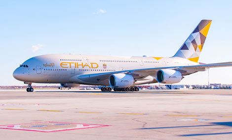 Etihad\\\\\\'s A380 arrives at New York JFK