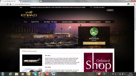 Etihad Airways inflight wifi
