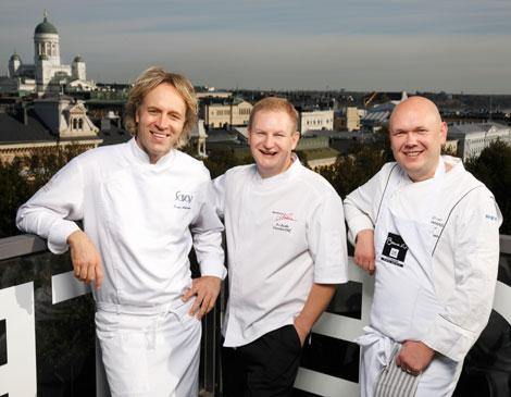 Finnair Signature Menu chefs Kari Aihinen, Ari Ruoho and Matti Jamsen
