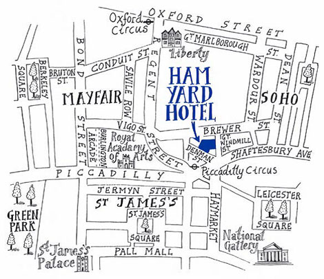 Ham Yard locator map
