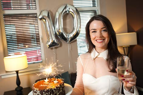 Aisling Friel, the face of Fraser Suites Glasgow, celebrates the serviced apartments\' 10th birthda