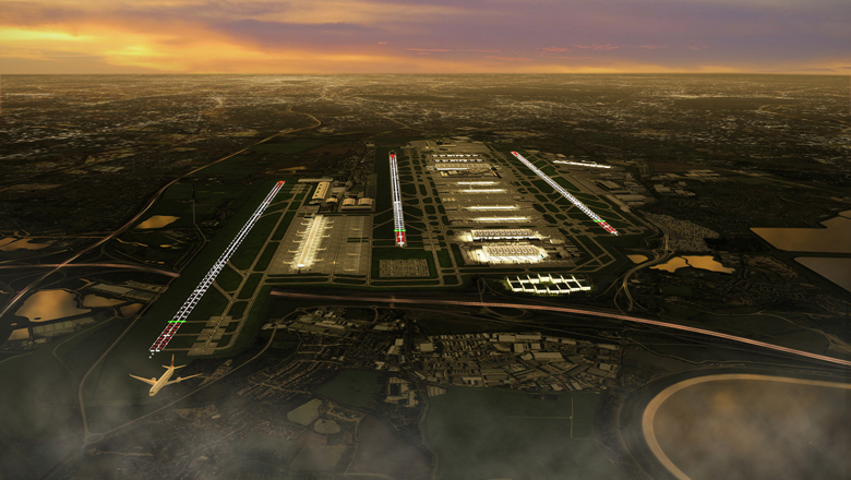 A new north-west runway (left) would be a full 3,200m long. Enough for any aircraft type to use