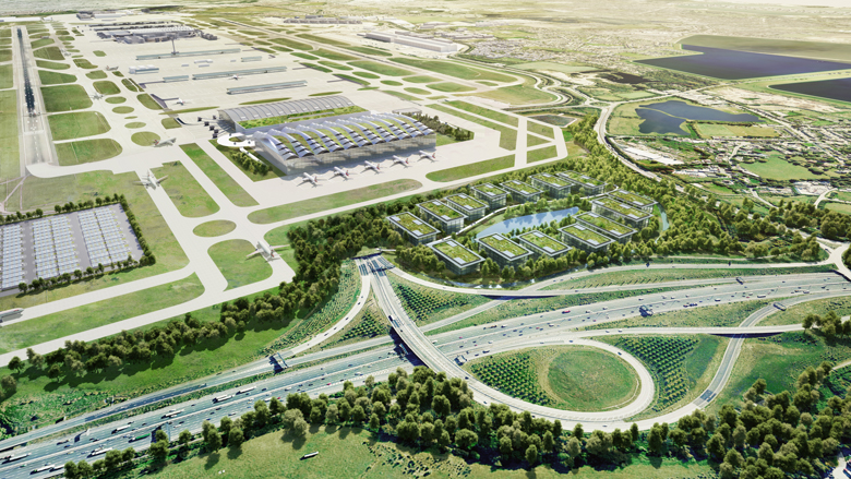 The plans include a new Terminal, to the west of Terminal 5, and an area set aside for a new business park