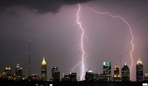 Lightning bolts hitting Atlanta skyscrapers. Copyright David Selby