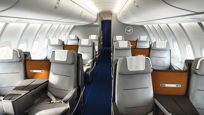 lufthansa unveils fully flat a380 business seats business traveller. Black Bedroom Furniture Sets. Home Design Ideas