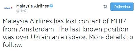 Malaysia Airlines crash Tweet
