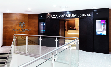 Plaza Premium LHR T4 departures lounge entrance