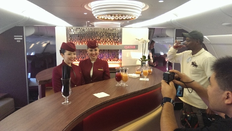 Qatar Airways A380 premium lounge upper deck