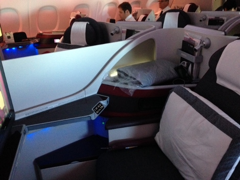 Qatar Airways A380 business class upper deck middle seats with divider raised
