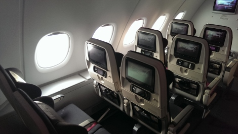 Qatar Airways A380 economy class upper deck, side storage