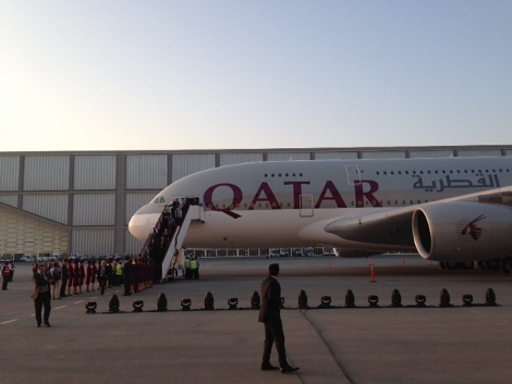 Qatar Airways A380 delivery flight arrival