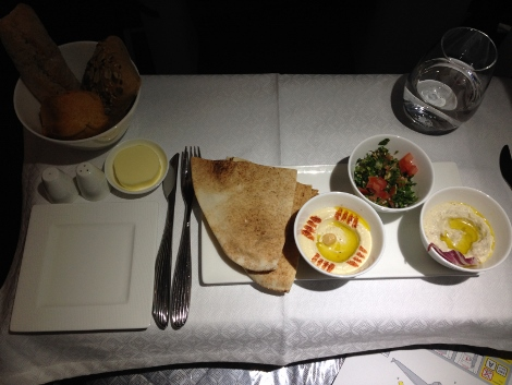 Qatar Airways A319 all business class Arabic mezze