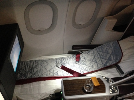 Qatar Airways all-business class seat sleeping