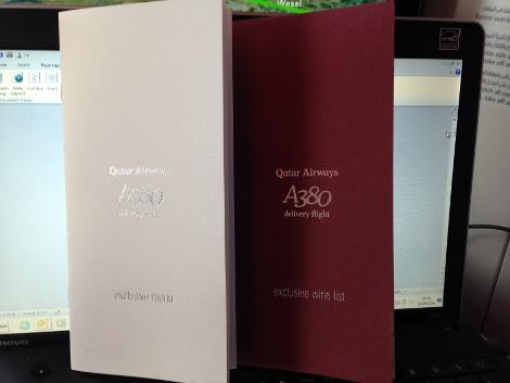 Qatar Airways A380 Delivery Flight menu
