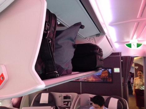 Qatar Airways A380 business class upper deck overhead lockers