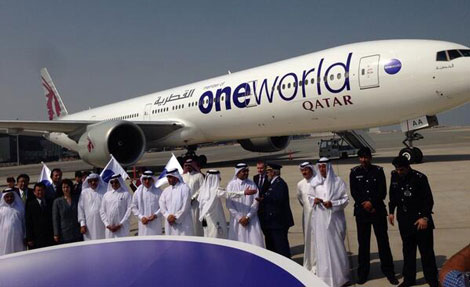 Oneworld-branded Qatar B777